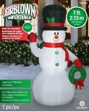 NEW - Gemmy 7' Ft Tall Outdoor Holly Hat Snowman Christmas Inflatable Airblown