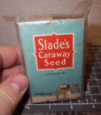 Vintage Slade's CARAWAY SEED 2 oz spice box, D&L Slade Co Spice Tin, mostly full