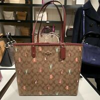 New COACH REVERSIBLE CITY TOTE SIGNATURE CANVAS PARTY ANIMALS PRINT F80246 $350