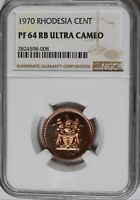 1970 Rhodesia  Cent KM# 10 Proof Coin NGC PF64 RB UCAM 12 Minted VERY RARE