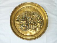 Vintage Brass peerage plate Tavern scene 17'' wall hanging David Tenier 1600's