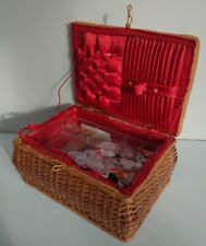Vintage Wicker Sewing Box retro woven with contents crafts sew lace prop origina