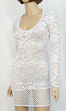 Sheer Floral Lace & Fishnet Long Sleeve V Neck Mini Dress Gothic Clubwear M-3XL