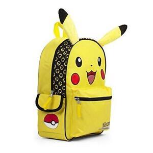"Pokemon Happy Pikachu School Backpack BookBag Yellow Large 16"" Gift Toy Pokeball"