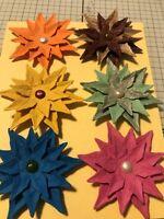 FLOWERS, HANDMADE DIE CUT MULTI LAYER COLORFUL SMALL LEAF FLOWERS [SET OF 6]