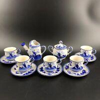 Delft Blue DALC Hand Decorated in Holland Tea Set Cups Saucers Creamer Sugar Set
