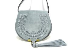 Auth Chloe Marcie Mini Round Saddle Bag 3P0580-H67-BFC LightGray Suede