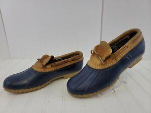 LL Bean 10 N Blue Brown Rubber Moc Duck Boots Ankle Rain Shoes USA Made Narrow
