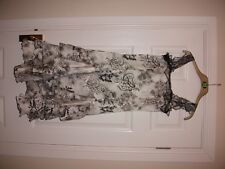 MARIELLA ROSATI ITALIAN DESIGNER SILK DRESS SIZE UK 8 WHITE BLACK FLORAL WEDDING