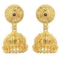 Indian Bollywood Wedding 22K Gold Plated Jhumka Bridal Fashion Earrings