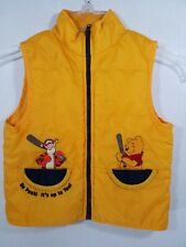 Disney Tigger & Pooh Baseball Bat Puff Vest Yellow Baby Boy Warm Coat Jacket 4T