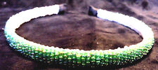 SEED BEAD HEAD BAND BOHEMIAN IRRIDESCENT MINT GREEN AZTEC GIRLS LADIES HAT BAND
