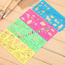 Children's Plastic Picture Drawing Template Stencils Rulers Painting DIY Art New