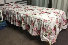 Vintage Twin Bed Cover Spread Pink Roses Flowers With Ruffle Sides