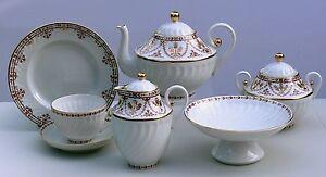 Tea set TERRACOTA FRIEZE twisted 22 pcs/6, Lomonosov Imperial Porcelain, Russia
