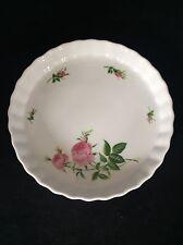 "Christineholm Flan Or Quiche Dish Pretty Pink Rose Pattern 9.5"" Diameter Floral"