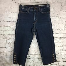 NYDJ #714 button leg capri women 2 dark wash mid rise Not Your Daughters Jeans