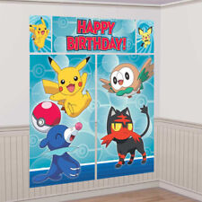 POKEMON PIKACHU SUN & MOON WALL POSTER Decoration Kit Scene Setter Birthday