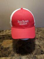 Four Roses Bourbon Mens Baseball Cap, Hat, Red, White Mesh, Snapback, EUC