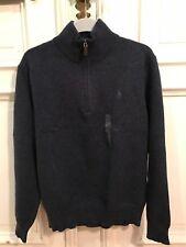 Ralph Lauren Strick Rollkragen Pullover Sweatshirt Blau Gr. M 100% Cotton NEU