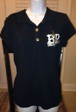 BABY PHAT Black Collared Polo Shirt Top w/Embellished Gold Rhinestones XL NWT