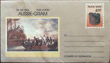 Aussie-Gram Norfolk Island 41c Unused Air Mail Envelope 1989