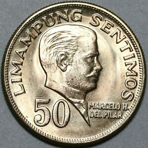 1972 Philippines 50 Sentimos Choice UNC Marcelo Del Pilar Coin (21011604R)