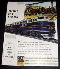 1944 WWII MAGAZINE PRINT AD, GENERAL MOTORS DIESEL POWER, B&O LOCOMOTIVE ART!