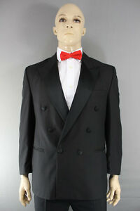 EX HIRE WOOL BLEND DOUBLE-BREASTED BLACK FORMAL TUXEDO DINNER JACKET 42 IN (REG)