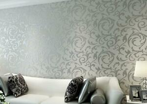 10M 3D Floral Textured Non-woven Wallpaper Rolls Home TV Background Decor