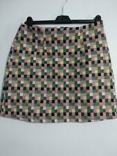 Mulaya Multi Colour Squares Skater Skirt Size Large green navy yellow 10/12 Geo