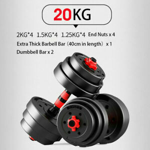 20KG Adjustable Rubber Dumbbell Set Barbell GYM Fitness Workout Weights Exercise