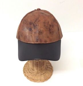 NEW Rustic metallic PU w/ PU visor Baseball Cap Men Women Adjustable, Rust/Black