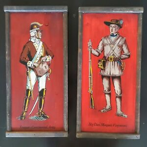 2  Vtg 50s Yorkcraft Wooden Wall Plaques Paintings Art Revolutionary Military