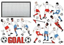 SOCCER PLAYERS TEAM Wall Decals Net Goal Ball Room Decor Stickers Red Blue 1190