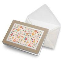 Greetings Card (Biege) - Forest Fox Pattern Trees Birds Love Heart  #45058