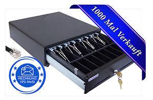 ✅ KASSENLADE SCHWARZ 33x33x10 GELDLADE EPSON IBM 8 Münz- 4-Schein 2 Geheimfächer