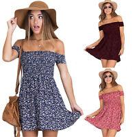 Women Casual Summer Floral Printed Off Shoulder Ruffle Stretchy Beach Mini Dress