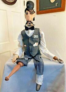Vintage Hand Made Folk Art Magic Trick Prop  Ventriloquist Dummy Puppet