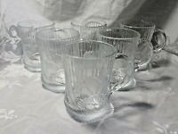 SET OF 6 CLEAR ARCOROC FRANCE FROSTED GLASS LOTUS FLOWERS MUGS