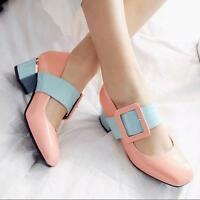 Womens Date Lolita Kitten Heel Mary Jane Sweet Round Toe Ankle Strap Court Shoes