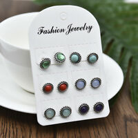 6Pairs Lot Stainless Steel Shiny Austrian Crystal Round Stud Earrings Jewelry