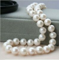 9-10MM GENUINE NATURAL WHITE FRESHWATER PEARL NECKLACE 18''