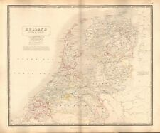 1844 large antique map-Johnston-HOLLAND