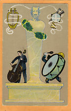 Advertising Postcard - Schmidt #6 Musicians Music Bass Player Drummer