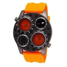 Dual Time Thermometer Compass Fashion Oversized Luxury Orange Mens Geneva Watch
