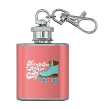 Roller Skates Derby Keep On Rolling Skating Stainless Steel 1oz Flask Key Chain