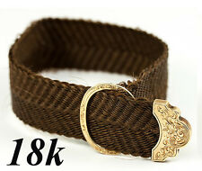 Antique French 18k Yellow Gold Clasp & Woven Hair Bracelet, c. 1840-60