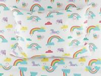 Where The Polka Dots Roam Twin Size Bed Sheets Rainbows and Unicorn 3 Piece Set