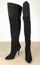 10 ABS Black Suede Fashion Over Knee High Heel Stiletto Boots, Classy Hot, $299